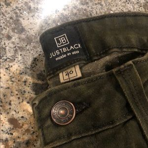 Green pair of Just Black from buckle dept. store